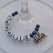 Train Personalised Wine Glass Charm